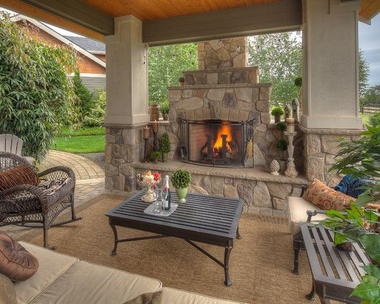 fireplace for the outdoor deck