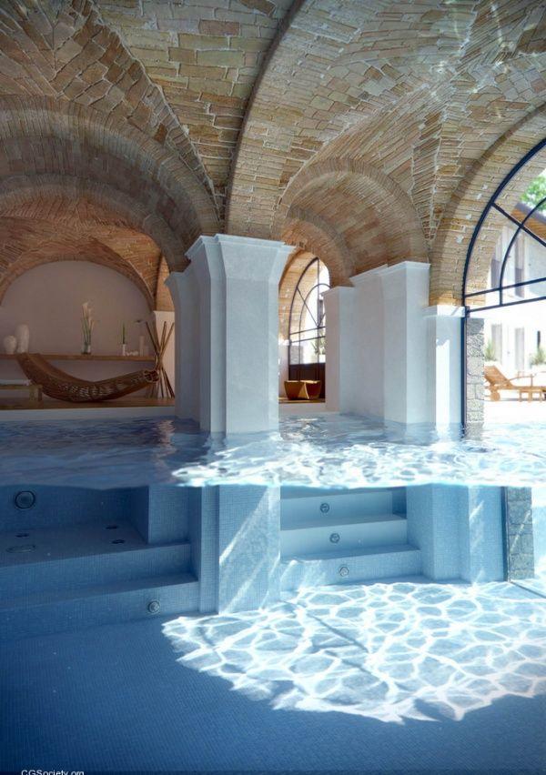 underground pool in patio